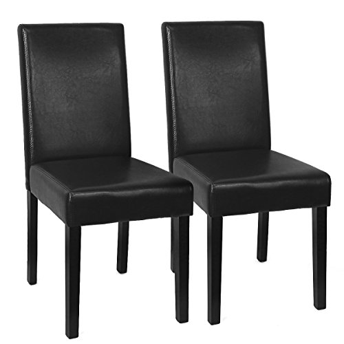 XtremepowerUS Urban Style Solid Wood Leatherette Padded Parson Dining Chair SET OF 2