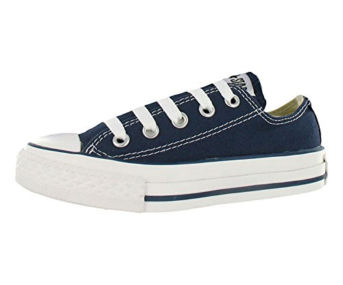 Converse Chuck Taylor All Star Canvas Low Top Sneaker, Navy, 2.5 M US Little -
