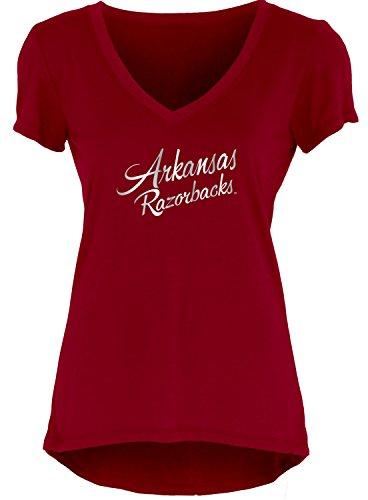Blue 84 NCAA Arkansas Razorbacks Women's Liquid Jersey V-Neck, Cardinal, Large