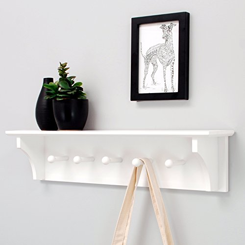 nexxt Foster Wall Shelf with 5 Pegs, 24