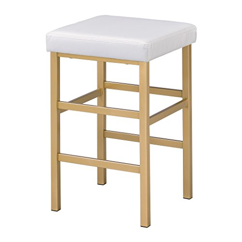 Office Star Backless Stool with Gold Frame, 26-Inch, White