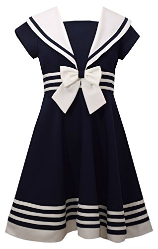 Bonnie Jean Girls' Big' Fit and Flare Nautical Dress, Navy, -