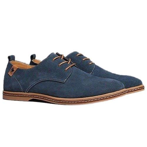 Gleader NUEVOS zapatos de gamuza de cuero de estilo europeo oxfords de los hombres casuales Azul(tamano 48)