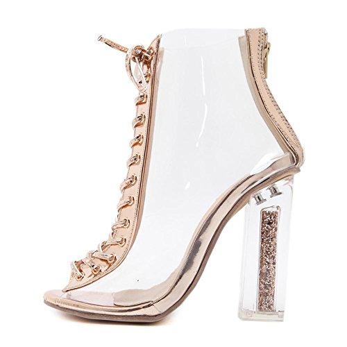 transparent pvc schuhe heel sandalen schnüren nudecolor für high ferse frauen klobige Damen xZY0q