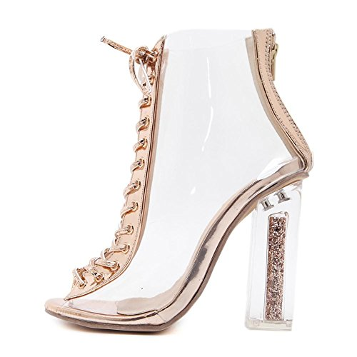 Señoras Encajes Fornido Tacón Sandalias para Mujer CLORURO DE POLIVINILO Transparente Alto Tacón Zapatos NUDECOLOR