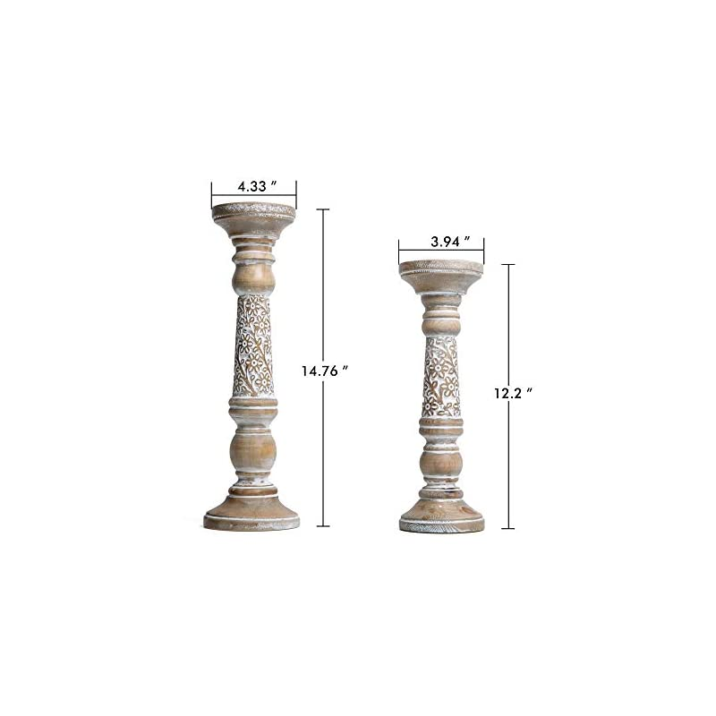 NIKKY HOME Farmhouse Candle Holder Set of 2 - Decorative Wood Pillar Candle Stand, Mantle Home Decor Centerpieces for…