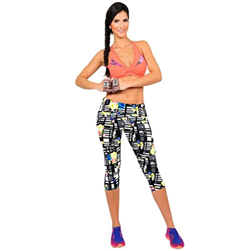 Gillberry High Waist Fitness Yoga Sport Pants Printed Stretch Cropped Leggings (L/28, Black)