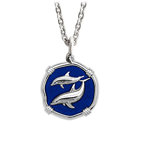 Guy Harvey Blue Enameled Dolphin Medallion in Sterling Silver on 18