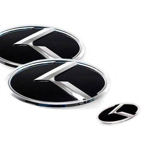 ZEO Front Rear Grill Steering Wheel K Logo Emblem 3-pc Set For 2011 2012 2013 Kia Optima : K5 by Kia