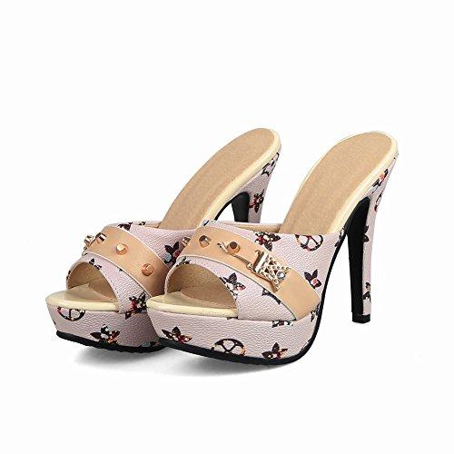Carolbar Women's Elegant Printings Rivets Super High Heel Platform Mules Shoes Beige yyDdOjPK0