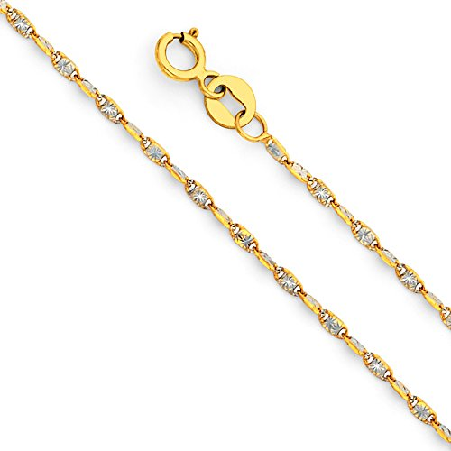 Wellingsale 14k Two Tone Yellow and White Gold SOLID 1.2mm Polished Twist Snail Star Diamond Cut Chain Necklace - 18