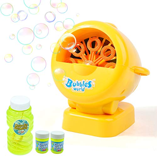 Danvren Bubble Machine, Automatic Bubble Blower Maker Summer Toys for Kids Boys Girls Toddlers,Hundreds of Bubbles per Minute, with 12oz Refill Solution, Airplane Shape for Indoor and Outdoor