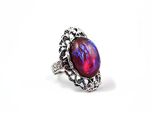 Mexican Opal Dragons Breath Ring Red Blue Fire Amulet Adjustable Silver Lattice Band Setting