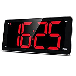 Large Number Display Alarm Clock Radio, Jumbo LED Digital Alarm Clock with 9.5 Curved Edge Screen, Stepless Control Dimmer, Dual Smart Alarm, Snooze, FM Radio, Sleep Timer, Battery Backup
