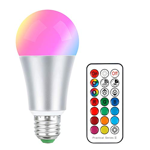 E26 LED Color Changing Bulb RGB Light Bulbs Warm White 10W Dimmable with 21key Remote Control, 60W Incandescent Equivalent, Memory Function, RGB + Warm White for Home Room Decor(1 Pack)