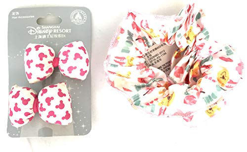 Disney Parks Shanghai Resort Pink Mickey Ears Icon Plush Hair Clips Barrettes and Winnie The Pooh ()