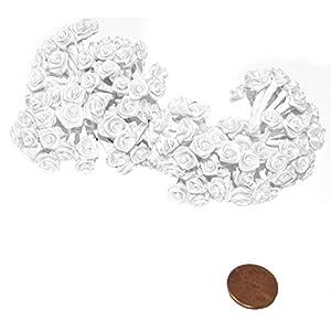 144 Silk Mini Wrap Roses Wedding Shower Flower Picks - White 10