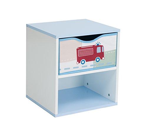 Worlds Apart 864986 Kinder-Nachttisch, Auto-Motiv, MDF, 36 x 33 x 30cm, Blau