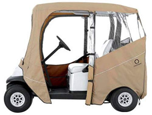 Classic Accessories Fairway Deluxe 4-Sided 2-Person Golf Cart Enclosure For E-Z-Go, Tan (Custom Ez Go Golf Carts For Sale)