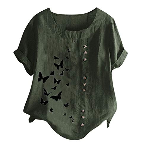 Londony❀♪ Women's Short Sleeve Cotton Linen Jacquard Blouses Top T-Shirt Linen Retro Chinese Frog Button Tops Blouse