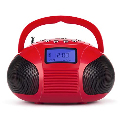 Radio Speaker, Mini Bluetooth MP3 Stereo System Portable with Powerful Bluetooth Speaker- FM Alarm Clock Radio with Card Reader, USB and AUX in (Micro USB) Red Speakers (SE20)