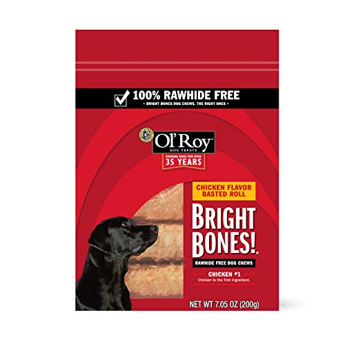 Ol' Roy Bright Bones Rawhide Free Dog Chews, Chicken Flavor Basted Rolls, 7.05 oz