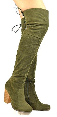 Chase & Chloe Max-2 Tacco Largo Blocco Con Cerniera Laterale Parziale E Stivale Posteriore Allacciato Donna Oliva