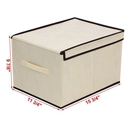 SONGMICS Set of 3 Large Storage Container with Lids Foldable Storage Box with Lids Beige URLB40M by SONGMICS (Image #3)