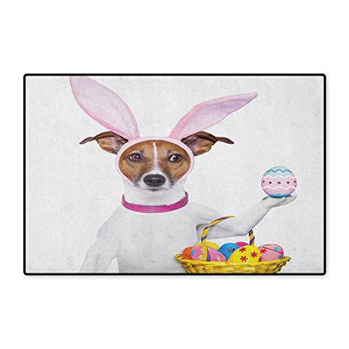 Easter,Door Mats for Inside,Dog Dressed up as Easter Bunny Holding a Basket of Eggs Funny Animal Illustration,3D Digital Printing Mat,Multicolor,Size,20