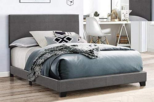 Amazon Com Crown Mark Erin Upholstered Bed King Grey Kitchen Dining
