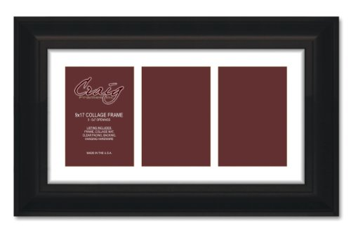 0BK 9 by 17-Inch Black Picture Frame, Single White Collage Mat with 3-5 by 7-Inch Openings ()