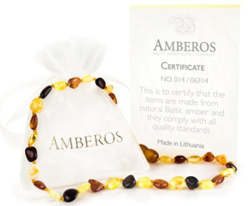 Amber Teething Necklace - for Babies (Unisex). Amberos Directly From Lithuania Certified Baltic Amber Baby Teething Necklace Highest Quality Guaranteed Anti Inflammatory, Drooling & Teething Pain.