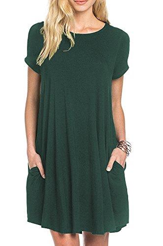 d45a3a0bb190 POSESHE Women s Short Sleeveless long Sleeve Casual Loose Pocket Tunic Dress  Size 8-22