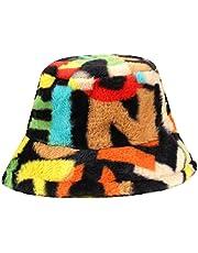 KADBLE Women's Colorful Winter Letter Print Faux Fur Bucket Hat Warm Fuzzy Fluffy Fisherman Cap