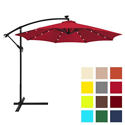 Best Choice Products 10ft Solar LED Offset Hanging Market Patio Umbrella w/Easy Tilt Adjustment, Polyester Shade, 8 Ribs for Backyard, Poolside – Red