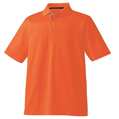 FootJoy Piq Ribbon Placket AF Golf Polo Orange/White/Navy Large
