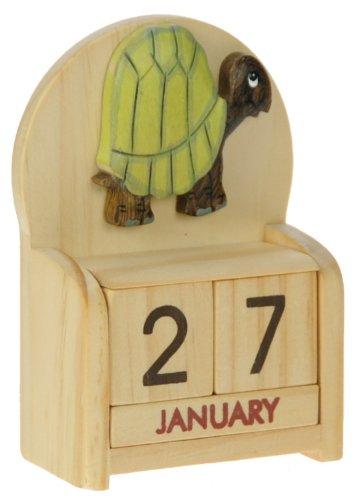 Schildkröte : Ewiger Kalender : handgefertigte Holz: Größe 10.5x7x3.5cm : Top- Weihnachtsgeschenk- Idee: Traditionelles Weihnachtsgeschenk für Kinder, Jungen, Mädchen, Ihn, Sie & Liebend Spaß Erwachsene! : 50+ Garten-Vogel , Tier & Transport Designs