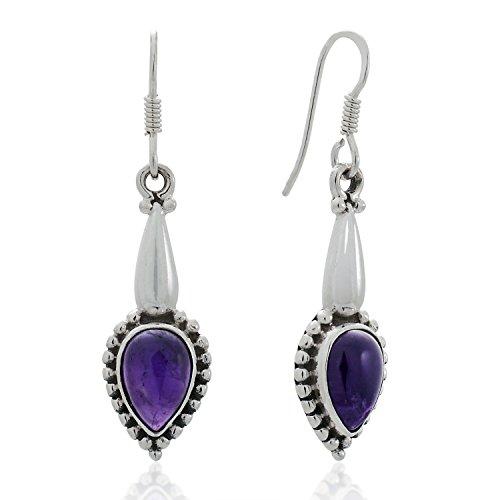 925 Sterling Silver Purple Amethyst Gemstones Teardrop Vintage Design Dangle Hook Earrings 1.6