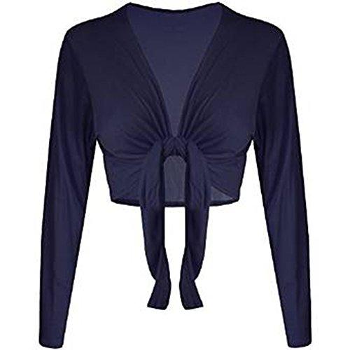 Unita Navy Tinta Tie womens Cardigan Top Maniche Coprispalle Nodo Front Fashion Elasticizzato Essentials Lunghe qtOYUU