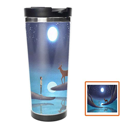 The Little Boy with Elk Water Bottle Stainless Steel Insulated Travel Coffee Mug,16oz, Double Wall Travel Tumbler Perfect for Hiking, Camping & Traveling