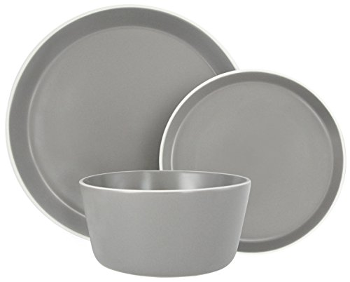 Melange Stoneware 36-Piece Dinnerware Set (Moderno Grey) | Service for 6| Microwave, Dishwasher & Oven Safe | Dinner Plate, Salad Plate & Soup Bowl (12 Each) by Melange