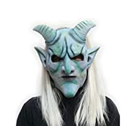 Halloween Horror Devil Latex Mask Actor Full Headgear Cosplay/Easter Goat Horns White Hair Wigs Scary Mask