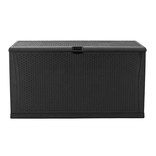 120 Gallon Resin Wicker Patio Storage Box, Waterproof Outdoor Storage Container Deck Box & Gar (Black)