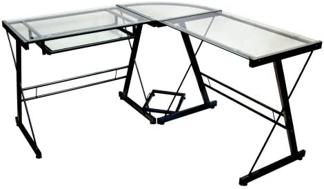 FurnitureMaxx 3-Piece L-Shaped Glass and Metal Computer Writing Desk