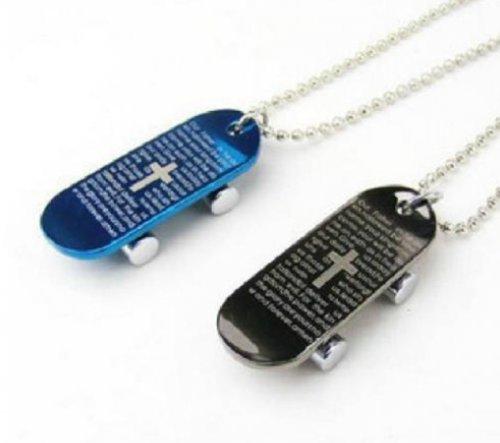 Cross Skateboard - SPHTOEO 2 Color Men's Stainless Steel Pendant Necklace Black Bible Lords Prayer Cross Skateboard Vintage