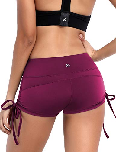 BUBBLELIME Yoga Shorts Running Shorts Moisture Wicking Non See-Through Fabric, Bwhb006 Grapevine, Small