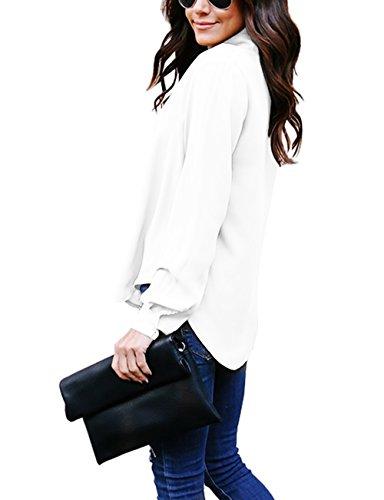 Top Manches Chemise Longues Femme Chic sans Fluide Classique Blouse Casual Yidarton Bouton Blanc Longue tvxqAA
