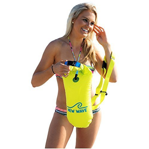 New Wave Swim Buoy for Open Water Swimmers and Triathletes - Light and Visible Float for Safe Training and Racing (Neon Green PVC - Sunglasses Triathlete