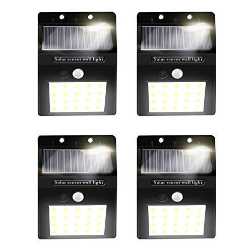 Alture Solar Lights Outdoor 20 LED Solar Motion Sensor Lights Waterproof Security Solar Wall Light for Outdoor Wall Graden Yard Garage Driveway Porch Fence – 4 Pack For Sale