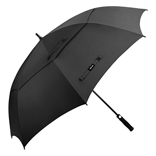 n Stick Umbrella 68 Inch Oversize Double Canopy Vented Windproof Golf Umbrella, Black (68 Inch Fiberglass Shaft Umbrella)